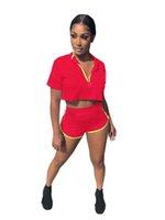 İki Parçalı Kıyafetler Zip Up Kırpma Kısa Kollu Mahsul Tops + Sıska Gömlek Pantolon Mektup Baskılı Katı Renk Kadın 2 Parça