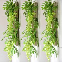 7ft 2m Flower String Artificial Wisteria Vine Garland Plants Foliage Outdoor Home Trailing Flower Fake Hanging Wall Decor DHD7005