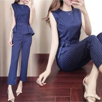 Women's Tracksuits Two Piece Set Top And Pants Summer Fashion Stripe Elegant Pioneers Temperament Commuter Leisure Two-piece