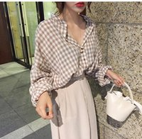 Desivorante verão preguiçoso V-pescoço de manga longa top outono blusa feminino simples camisa xadrez blusas camisas