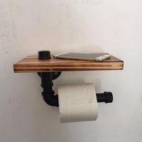 Titulares de papel higiênico DWZ Retro Ferro Suporte Casa de banho El Roll Tissue Pendurado Cremalheira De Madeira Prateleira Montada