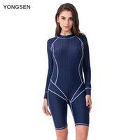 Abiti da un pezzo Yongsen 2021 Manica lunga Body Sports Sun-Protective Beachwear Arrivo Zipper Women Professional One Piece Costume da bagno con