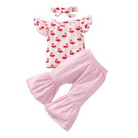 Clothing Sets Kids Baby Girls 3-piece Outfit Set Summer 2021 Sleeve Flamingo Print Tops+Flared Pants+Headband
