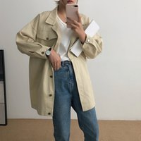 Women's Trench Coats cotton jean jacket, average casual windbreaker with bat sleeve for students, Korean fall jacket XCQG