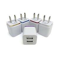 5 فولت 2.1A1.0a مزدوج USB محول AC شاحن الجدار السفر المنزل مع منافذ مزدوجة الاتحاد الأوروبي الولايات المتحدة التوصيل 5 ألوان شواحن الهاتف الخليوي