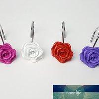 12 stücke Nützliche Rose Blume Harz Dusche Handgefertigt Dekorative Duschvorhang Gleishaken Badezimmer Zimmer