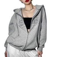 Running Jackets Women Zip Up Hoodies Casual Long Sleeve Rhinestone Letter Pattern Loose Sweatshirts Autumn Winter Streetwear
