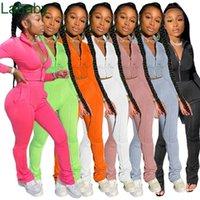 Women Tracksuits Two Piece Set Designer Solid Color Casual Zipper Jacket Long Pants Outfits Ladies Jogging Sport Clothing 6 Colours