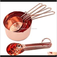 Kitchen, Dining Bar Home & Garden Drop Delivery 2021 8Pcs Stainless Steel Spoons Set Rose Gold Cups Kitchen Aessories Baking Tea Coffee Spoon