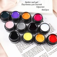Nail Art Kits 12pcs Spider Web Gel Polish Set Decorations Black Silk Line Drawing UV Varnishes DIY Manicure Accessories