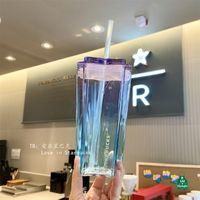 2021 ستاربكس نجمية السماء التدرج لون الزجاج كأس القش خمسة مدببة النمذجة النمذجة الأزرق الأرجواني القهوة المياه بهلوان 385 مل