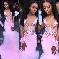Sexy Pink Lace Long Mermaid Prom Dresses 2020 New Sleeveless V Neck Illusion Open Back Formal Evening Dress Party Gowns