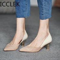 ICCLEK Damen Kleid Schuhe Patchwork Pumps Spitz-Tehe Party Schuhe Frau Mode Pumps Tiefsätze Bootsschuh Damen 210330