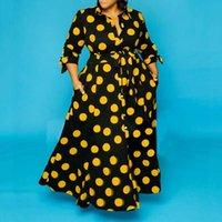 Mulheres amarelo bolinhas impresso vestidos vintage retro com faixas plus size senhoras moda africano feminino cintura alta verão vestes casuais