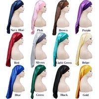 Women Wide Band Satin Sleep Night Cap Long Tube Bonnet Beauty Hair Care Caps Ladies Headwear