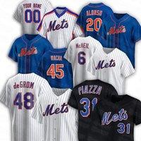2021 Mets 7 월 블랙 유니폼 리턴 저지 12 프란시스코 Lindor 20 Pete Alonso 48 Jacob Degom 31 마이크 Piazza 40 Wilson Ramos 45 마이클 Wacha 야구 유니폼