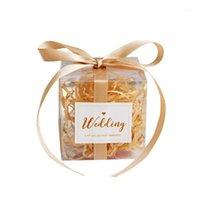 25st PVC Square Candy Box med Ribbon Birthday Party Event Baby Shower Decoration Bröllop Brudtärna Presentväska Förpackning Supplie1