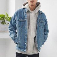 2019NEW 최고 품질의 순수한 코튼 데님 재킷 남자 카우보이 슬림 맞는 폭격기 재킷 망 진 재킷 힙합 인쇄 코트 크기 S 5XL 멋진 자켓 남자 bo e9t2 #