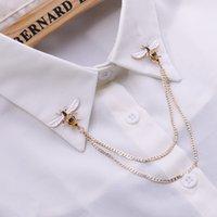 Yutong Sevimli Arı Vintage Broşlar Pimleri Hayvan Alaşım Metal Zincir Broş Broches Adam Takım Elbise Gömlek Yaka Püskül Yaka Pin Kadınlar Takı Hediye