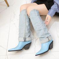 Stiefel Uyoyu Womens Leder + Denim Knie spitz Zehe High Heels HEELED SCHUHE Frau Casual Quaste Ausschneiden Jeans Lange Botas Mujer