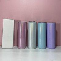 Sublimação Tumbler Straight Glitter 20oz Aço Inoxidável Garrafa de Água Transferência Térmica Caneca De Café Beber Copo A02