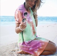 Pencil Dress Summer Tie-dyed Casual Tshirt Dresses Crew Neck Loose Breathable Female Clothing Women Designer