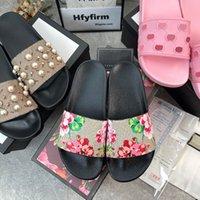 2021 Tasarımcı Erkek Kadın Sandalet Doğru Çiçek Kutusu Ile Toz Çanta Ayakkabı Yılan Baskı Slayt Yaz Geniş Düz Terlik Boyutu 35-48