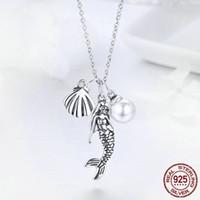 Мода Pearl Mermaid Подвеска S Приветствие Ожерелье Женщины Ювелирные Изделия Подарок