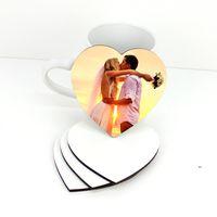 Sublimation vierge de tasse en bois Tapis thermique Trafier romantique coaster en forme de coaster MDF maison décoration de bureau DIY cadeau FWF8897