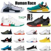 Vente en gros avec chaussettes NMD Mens Human Course Femmes Chaussures de course pour femmes Infinite Pack solaire R1 V2 Gold Métallique Pharrelle Williams Hommes Femmes Sneakers Big Taille 47