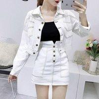 Abbigliamento femminile di modo Set da donna a maniche lunghe Jean Giacche Cappotto Bianco Gonna Due pezzi Denim Suit Slim Casual Lady Desidocc297