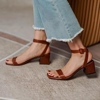Dress Shoes Genuine Leather Womens Casual Buckle Strap For Women Sandals Thick Heel Ankle-Wrap Handmade Fashion Summer