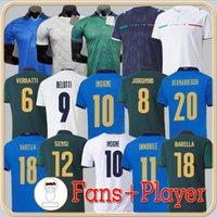Fans Jogador Versão 2021 Itália Futebol Jerseys Insigne Renaissance 21 22 Camisa de Futebol Conjunto Chiellini Bonucci Bernardeschi Belotti Barella Homens Uniformes