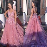 Sexy Backless Pink Lace Prom Dresses Fashion V-Neck A Line Tulle Appliques Court Train Vestido De Noiva Elegant Straps Evening Gowns Plus Size