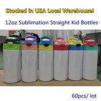 ¡Stocks de Estados Unidos! Sublimación Botellas de agua rectas de sublimación Tumblers en blanco 350 ml 12oz Sippy Taza de calor Transferencia de calor Dibujos animados de doble pared de acero inoxidable Copas de niños Paja