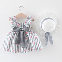 Girl's Dresses 2021 Childern Toddler Baby Kids Girls Floral Ruched Bow Watermelon Princess Dress Clothes Hat Summer Vestido Girl Costume