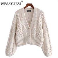 Wesay Jesi Women's Primavera de punto Cardigan Mujeres Suéter Grueso Suelto Linterna Funda Perla Botón Corto Sweet Y Lazy Style 210805