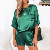 2021 الصيف الحرير منامة مجموعة النساء تقليد الحرير منامة مثير الحرير النوم homewear الإناث فضفاض صالة ارتداء مجموعات pjs النساء