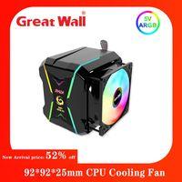 Gran Muralla 4 Tuberías de calor PC Cooler 92 * 92 * 25mm Ventilador CPU Pin 3D RGB Soporte Inter LGA 115x / 775 AMD Socket AM4 / AM2 Fans Refriginaciones