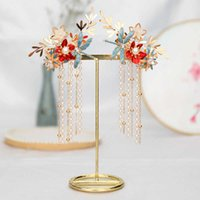FORSEVEN Chinese Long Tassel Clips pin grips Headpiece for Women Girl Bridal Bride Wedding Hair Jewelry Accessories