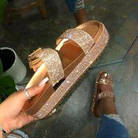Spring summer 2020 women double-layer rhinestone buckle sandals outside wild beach slippers ladies leisu OdZ DIOR GUCCI YEEZY