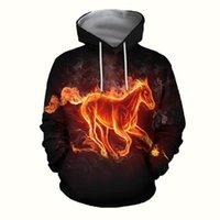 Мужские толстовки толстовки CLOOCL пламя лошади мужские животные серии 3D печать одежда унисекс пуловеры топы повседневный карманный хараджуку