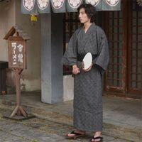 Kimono For Men Yukata Black Gray Check Robe Japanese Traditional Samurai Casual Simple Fashion Streetwear Homeware Suit Ethnic Clothing