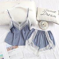 Pajamas Set Lace Spaghetti Strap Women Sleepwear Top And Shorts Sets Silk Satin Pajama Suit Night Wear Summer