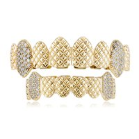 18k Real Yellow Gold Silver Plated Iced Out CZ Teeth Grillz Top Bottom Grill Set vampire teeth Party Gift