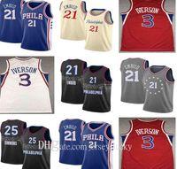 2021 Gute Qualität Joel 21 Embiid Herren Ben 25 Simmons Allen 3 Iverson Julius 6 Erntes Stadt Basketball Jersey Atmungsaktive Größe S-2XL