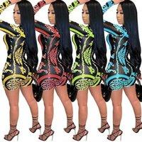 Damen-langen hohen Winterbrief-Druck-Luxus-Bodycon-Miniskirt-Designer-Luxus-Frauen-Kleid-Pullover-Kleid Eleganter Ärmel Damenkleid für