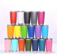 미국 주식 패션 20 온스 뚜껑이있는 컵 텀블러 스테인레스 스틸 와인 유리 진공 절연 컵 여행 18 색