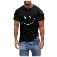 Men's T-Shirts Shirts Fitness Tops Smile Printed Short Sleeve Slim T-shirt Summer Casual Blouse Plus Size Oversized 5xl Blouses