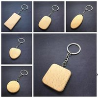 Персонализированные Diy Blank деревянные ключевые цепи прямоугольник сердца круглый эллипс резьба брелок дерево брелок кольца подарки ремесло инструменты DHF6038